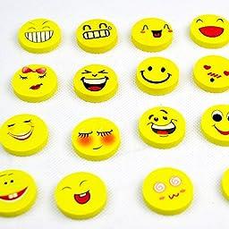 Dealglad® 10Pcs Funny Cute Cartoon Smile Face Rubber Erasers Kid Stationery