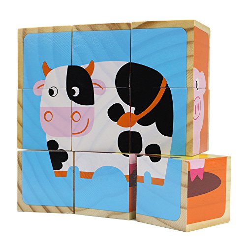 Professor Poplar's Barnyard Animals Stacking Puzzle Blocks, 9 Pieces
