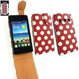 Emartbuy ® Huawei Ascend Y300 Premium-Pu-Leder Flip Schutzhülle / Cover / Tasche Polka Dots Rot / Weiß Und Lcd Displayschutzfolie