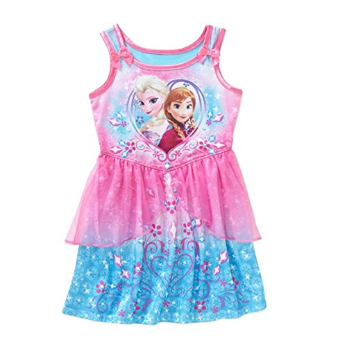 Disney Frozen Anna Elsa Sleeveless Fantasy Nightgown Sleep Gown Little Girl 3T