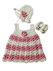 MiC Crafts Baby Girl 3 Piece Set White and Pink Striped Preemie