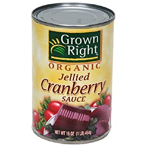 Grown Right Organic Jellied Cranberry Sauce, 14-Ounce Can (Pack of 6)