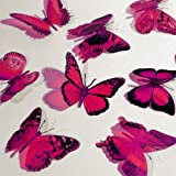 Butterfly 3D Translucent Decoration 12 HOT PINK Butterflies