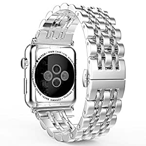 Apple Watch Band 38mm, HuanlongTM 2015 Latest Solid Stainless Steel Metal Replacement 7 Pointers Watchband Bracelet with Double Button Folding Clasp for Apple Watch Iwatch (LS 38mm silver)