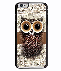 PRINTVISA Coffe seets owl Premium Metallic Insert Back Case Cover for Apple Iphone 6 - D5706