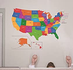 Design with Vinyl RAD 1262 2 United States Of America World Map Classroom School Kids Teacher Students Colorful Learning Teaching Vinyl Wall Decal 16 x 24