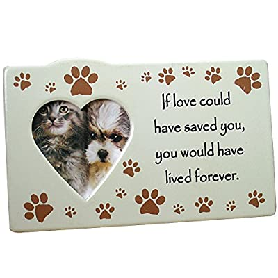 Pet Remembrance Cat Or Dog Themed Memorial Ceramic Easel-Back Picture Frame