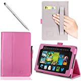 i-BLASON Kindle Fire HDX 7 inch Tablet Leather Case Cover / Stylus (Automatically Wakes and Puts the Kindle Fire HDX to Sleep) (Note Compatible with Kindle Fire HD 7) 3 Year Warranty (Pink)