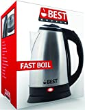 Best Electric Tea Kettle (RAPID BOIL TECHNOLOGY) - Huge 2.0L Capicity - Brushed Nickel Stainless Steel Finish - Cordless 360 Degree Pot - Small Concealed Heating Element - Boils Hot Water Fast & Safe!