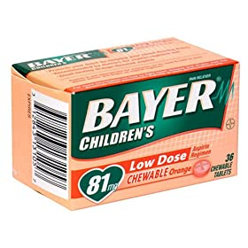 Bayer Aspirin Pain Reliever/ Fever Reducer, Children's Orange, 36-Count Chewable Tablets