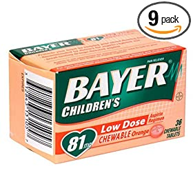 Bayer Aspirin Pain Reliever/ Fever Reducer, Children's Orange, 36-Count Chewable Tablets (Pack of 9)