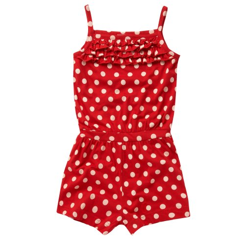 bluezoo Bluezoo Girl's Red Spotted Playsuit