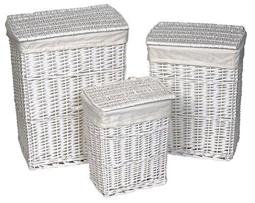 Set di 3 cesti in legno per bucato - in vimini BIANCO - con fodera rimovibile in cotone BIANCO .