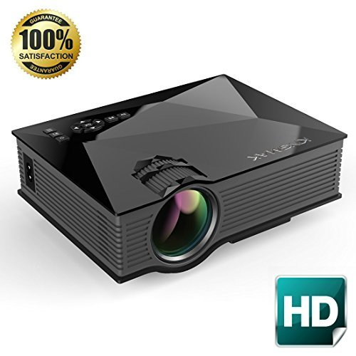 UNIC UC46 1200 Lumens Portable Multimedia HD Mini LED Projectors Private Home Theater Cinema with Miracast DLNA Airplay Support Wifi Video Game Backyard Movie Night
