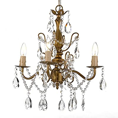 "Wrought Iron and Crystal 4 Light Gold Chandelier H 14"" X W 15"" Pendant Fixture Lighting Ceiling Lamp Hardwire and Plug In"
