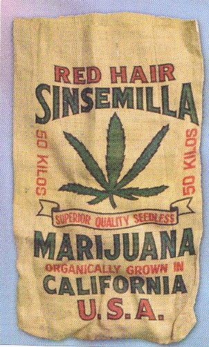 Red Hair Sinsemilla Marijuana Novelty Burlap Bag 22