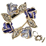 Rose Wreath Crystal Rhinestone Gold-Tone Brooch Pin - Blue