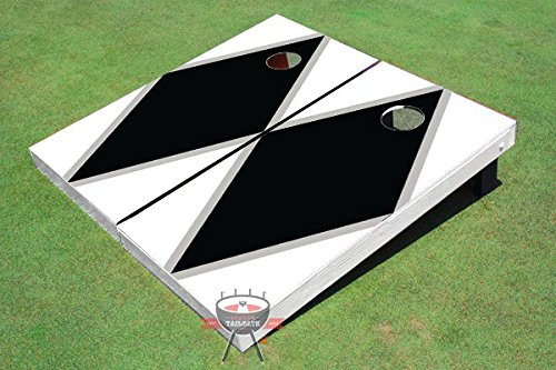 Black And White Matching Diamond Corn Hole Boards Cornhole Game Set