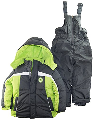 Ixtreme Little Boys 4-7 Color Block Two Piece Snowsuit Set, Charcoal, 7 front-932469