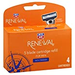Rite Aid Renewal Cartridge Refills, 5 Blade, for Men, with Trimmer, 4 cartridges