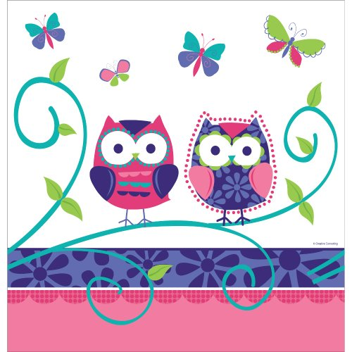 Creative Converting Owl Pal Plastic Banquet Table Cover, Fits Upto 8' Length