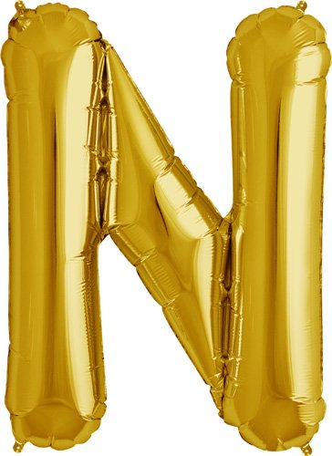 Letter N - Gold Helium Foil Balloon - 34 inch - 1