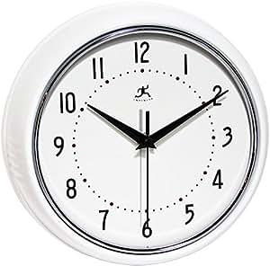 Infinity Instruments Retro Round Metal Wall Clock White Home Kitchen