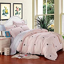 SAYM Home Bedding Sets Elegant Rural Style Print Kids Set For Lovely Teen Girls 100% Polyester Fiber School Duvet Cover,Flat Sheet,Shams Set 4Pieces Summer Queen