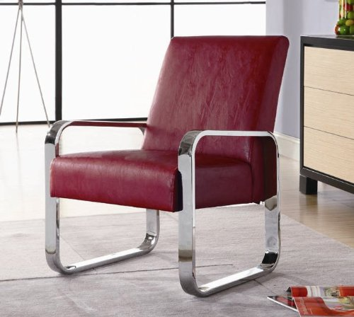accent leisure chair with chrome arms and legs in red leatherette