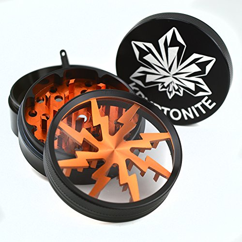 Kryptonite Grinders 2.5-Inch Large Herb Lightning Grinder with Four Piece Clear Top and Pollen Catcher, Black and Burnt Orange (Buddy Pen Vaporizer compare prices)