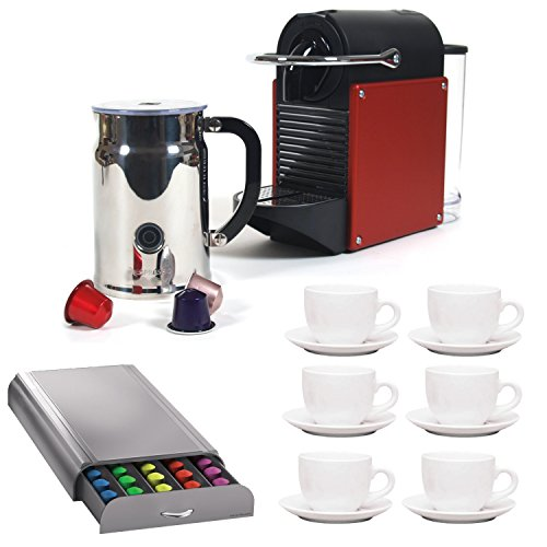 Nespresso Pixie D60 Carmine Espresso Machine (Red) with Milk Frother + Set Of 6 Ceramic Tiara Espresso Cups & Saucers + Mind Reader Coffee Pack Drawer for Nespresso Capsules