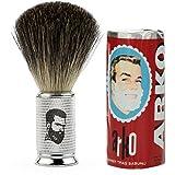 Rusty Bob - Afeitarse hecha de genuina pelo de tejón y jabón de afeitar Arko - Silber
