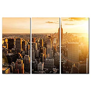 3 Pieces Modern Canvas Painting Wall Art The Picture For Home Decoration Manhattan Skyscrapers Empire State Building Hudson River Dawn Buildings Cityscape Print On Canvas Giclee Artwork For Wall Decor