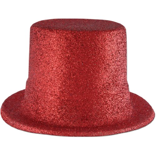 Glittered Top Hat (red) Party Accessory  (1 count) - 1