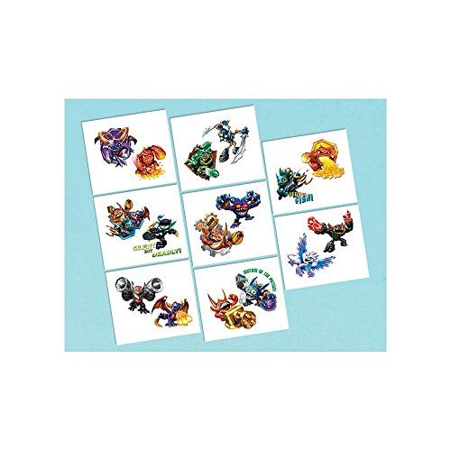 Amscan Skylanders Tattoos (16 Piece), Multi, 2 x 1 3/4""