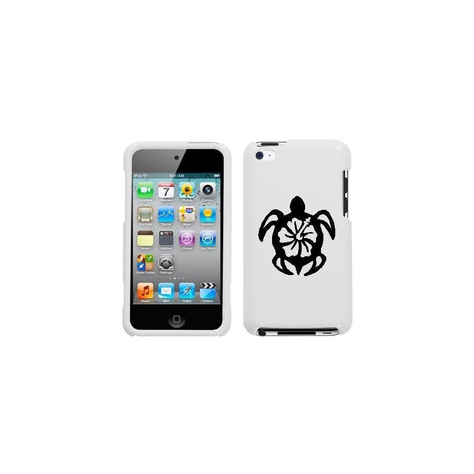 APPLE IPOD TOUCH ITOUCH 4 4TH BLACK TURTLE ON A WHITE HARD CASE COVER