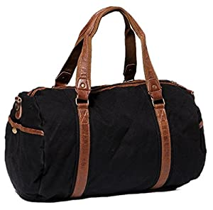 CLELO B529 Vintage Canvas Sports Travel Camping Duffel Bag With Leather Straps