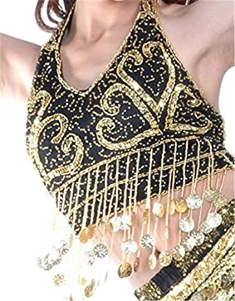 Dreamspell 2014 Shining White Tops Belly Dance Costumes Coins Decorated