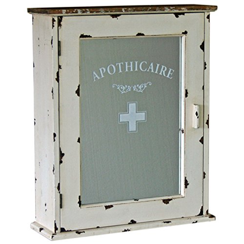Simple Apothicaire Mirrored Wall Hanging Bathroom Cabinet Shabby Chic Vintage Style