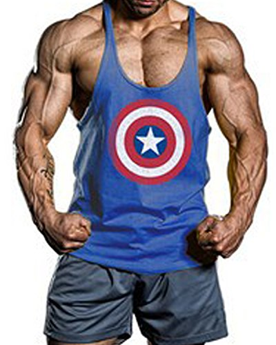 Moge-America-Captain-Fitness-Sweat-Muscles-Vest-Cotton-Loose-Gym-Vest-Y-back-Bod