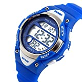 Kids Outdoor Sports Childrens Waterproof Wrist Dress Watch With LED Digital Alarm Stopwatch Lightweight Silicone for Boy Girl - Blue