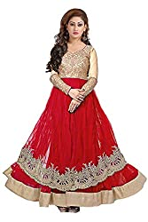 Clickedia Women's Net Salwar Suit- Dress Material (Red& Gold Round)