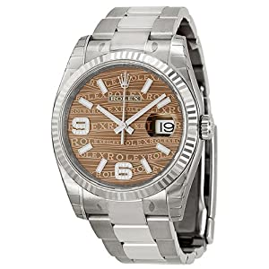 Rolex Datejust Automatic Bronze Wave Jubilee Diamond Dial Stainless Steel Unisex Watch 116234BRWJSDAO