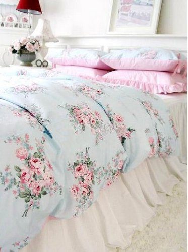 Shabby Chic Blue Rose Pink Gingham 4pc Bedding Set Queen