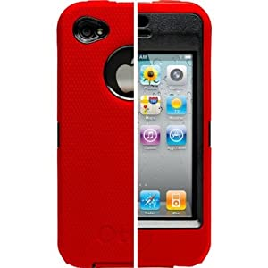 OtterBox Universal Defender Case for iPhone 4 (Red Silicone & Black Plastic)