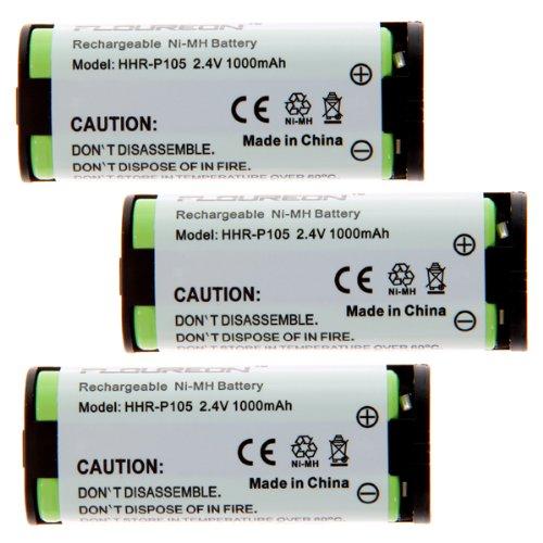Floureon 3 Packs Telephone Home Battery For Toshiba Bt1009, Bt-1009, Dkt2404-Dect, Dk-T2404-Dect Rechargeable Cordless Phone, 2.4V 1000Mah