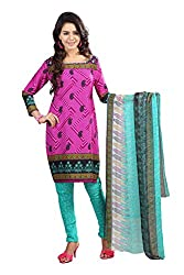 Swagpod Pink Crepe Printed Unstitched Dress Material SWAG00282