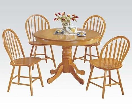 ACME 07021 Farmhouse 5-Piece Dining Set, Oak Finish