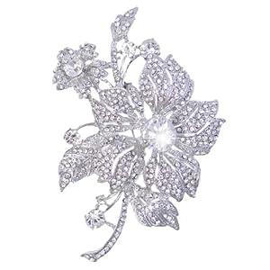 Bridal Elegant Silver-Tone 4.3 Inch Orchid Flower Austrian Crystal Brooch A07465-1