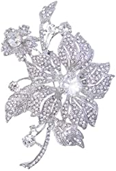 EVER FAITH Bridal Elegant Silver-Tone 4.3 Inch Orchid Flower Austrian Crystal Brooch
